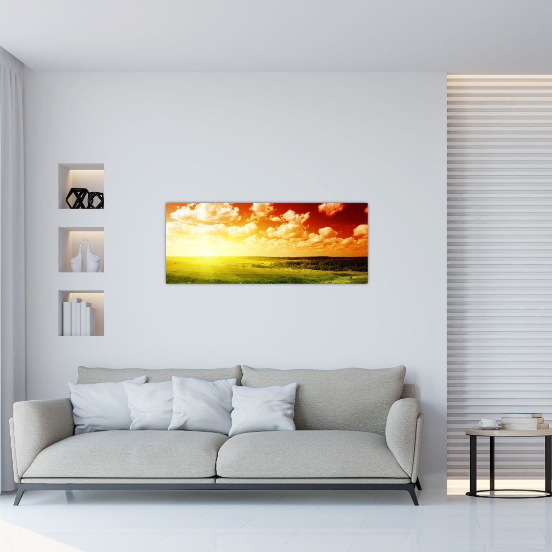 Obraz louky se zářícím sluncem (V021174V10040)