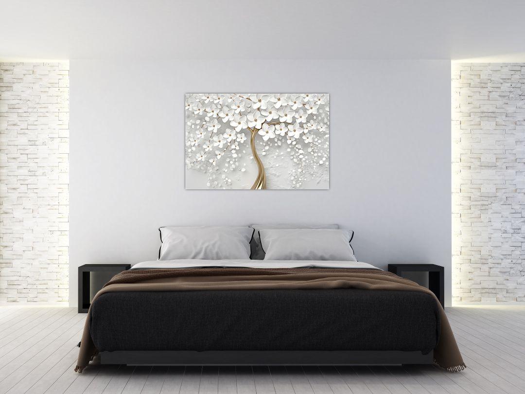 Obraz bílého stromu s květinami (V020977V12080)