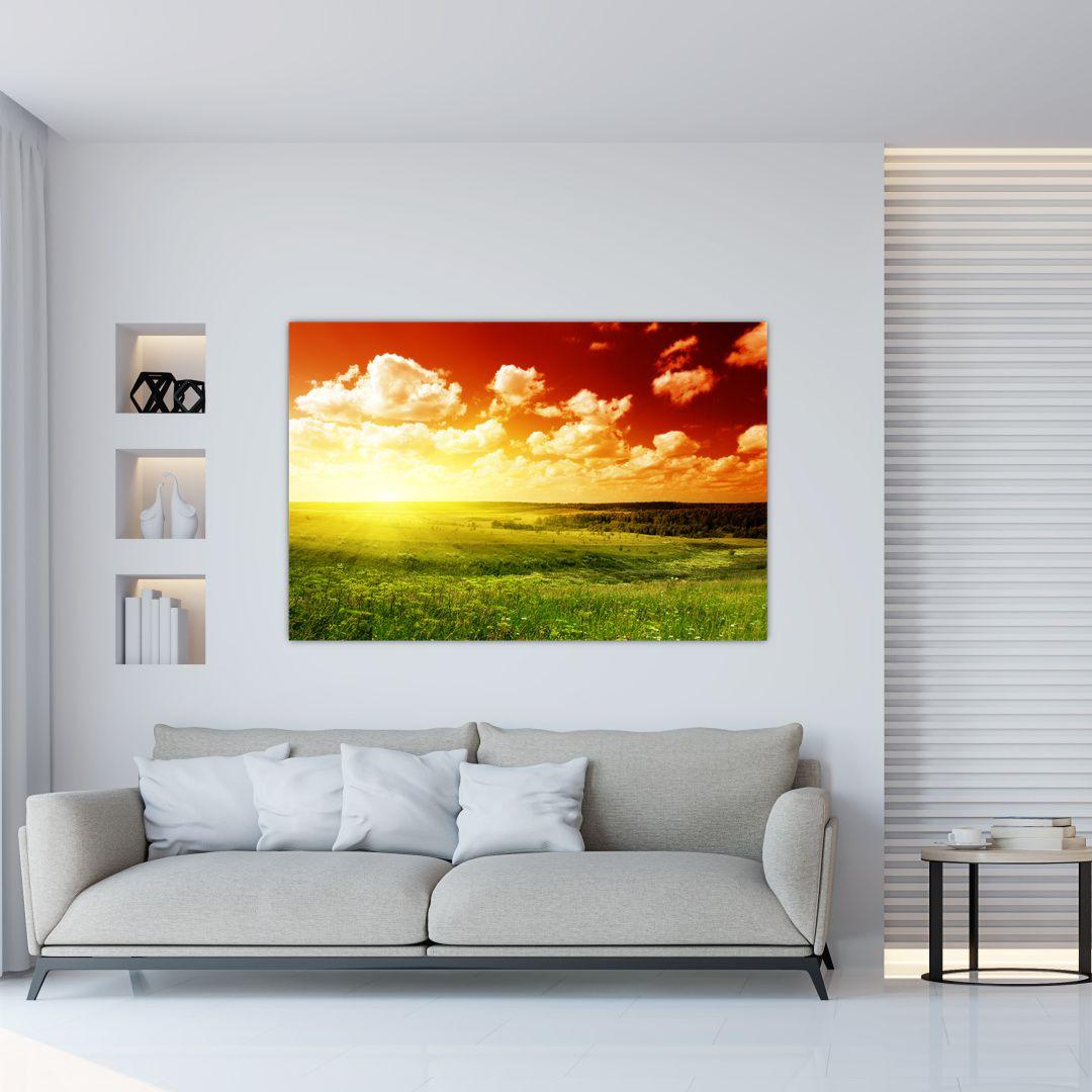 Obraz louky se zářícím sluncem (V021174V12080)