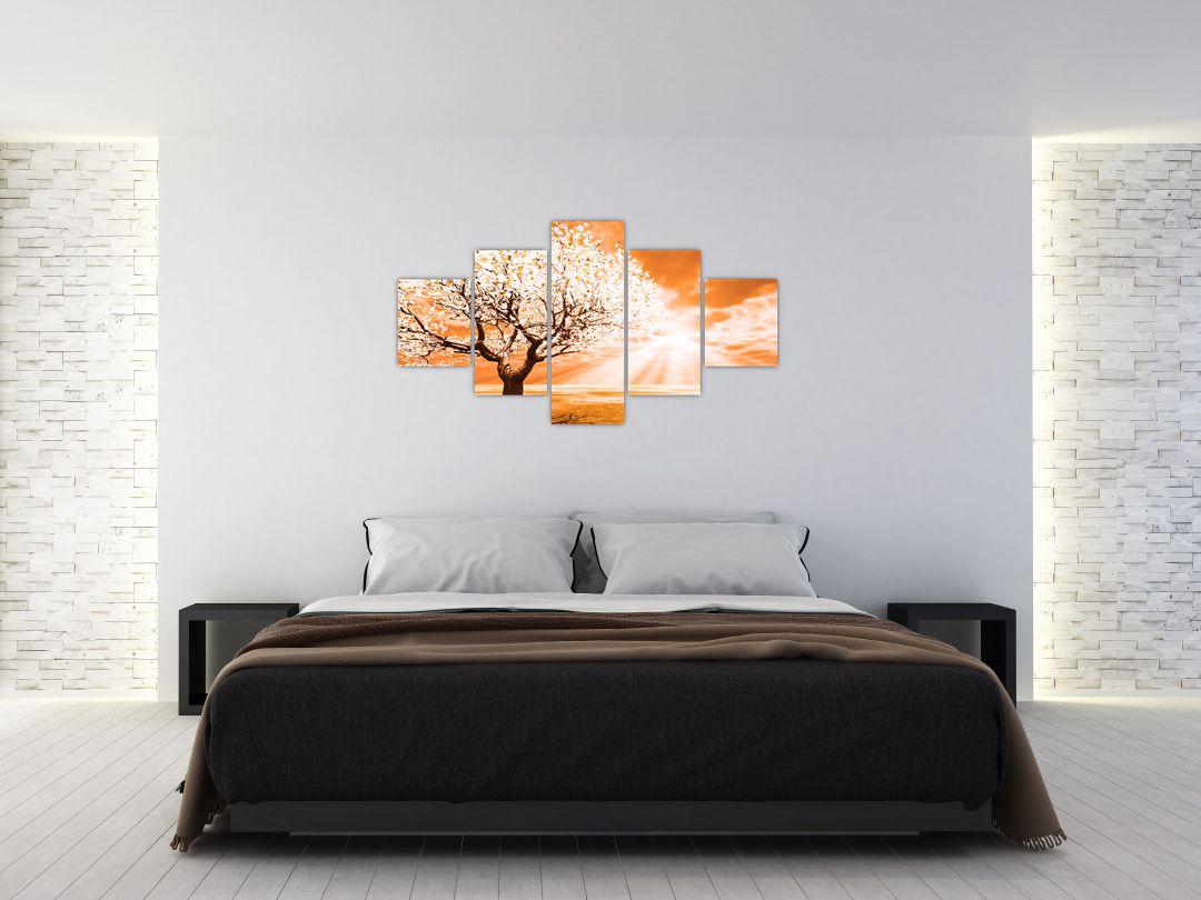 Oranžový obraz stromu (V020095V12570)