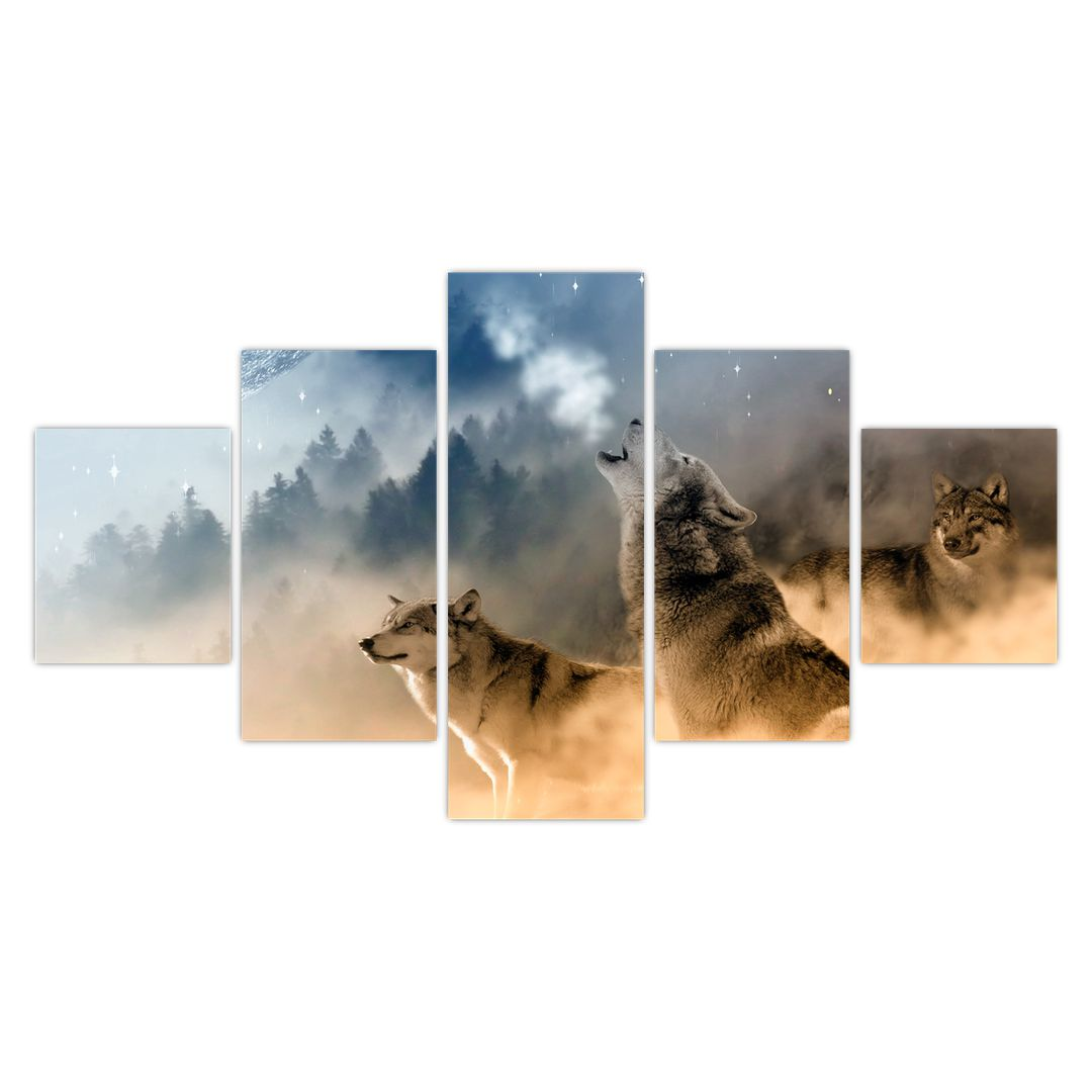 Obraz - vlci vyjící na měsíc (V020509V12570)