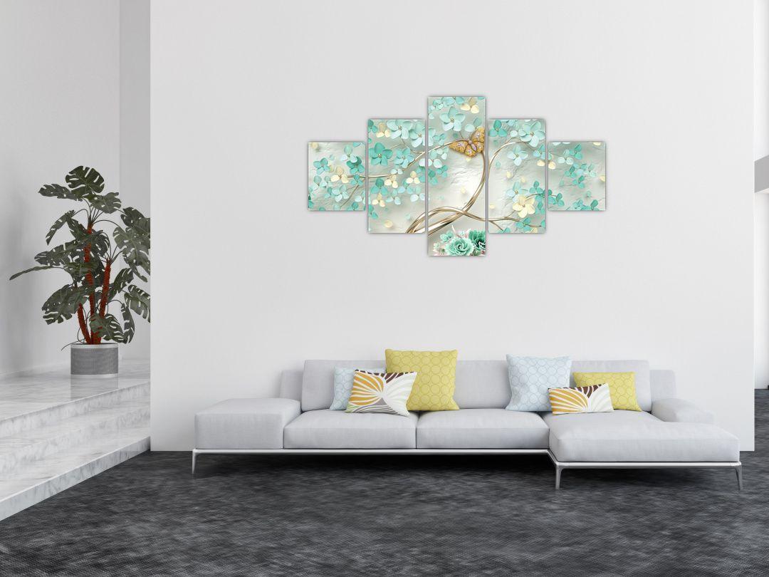 Obraz květiny s motýly (V020716V12570)
