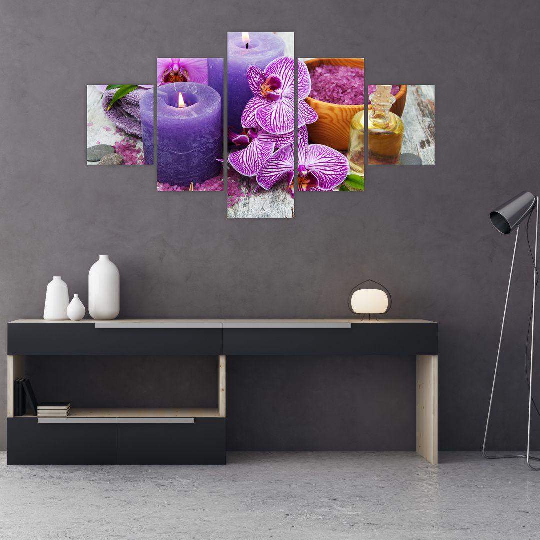 Obraz orchideí a svíček (V020894V12570)