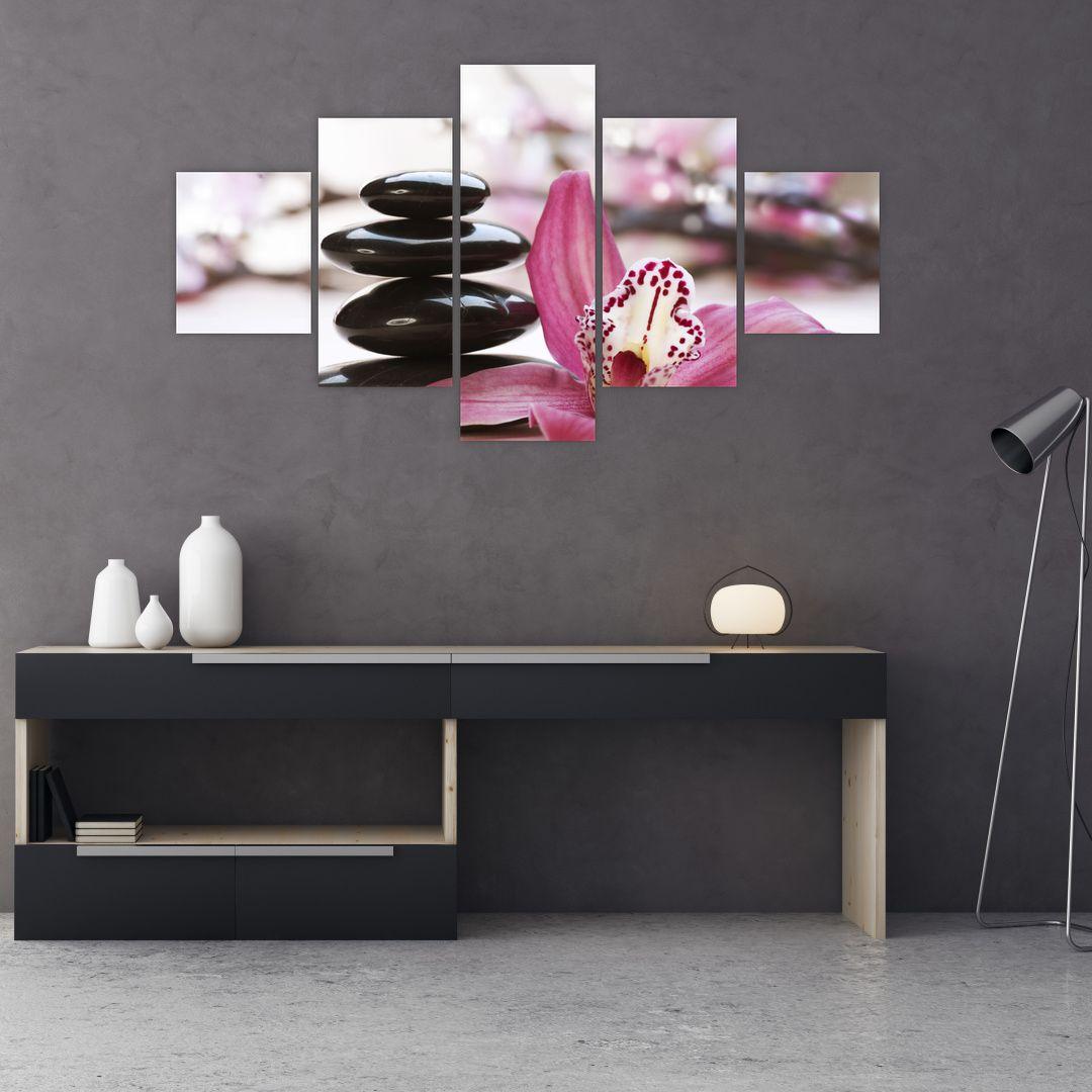 Obraz masážních kamenů a orchidee (V020910V12570)