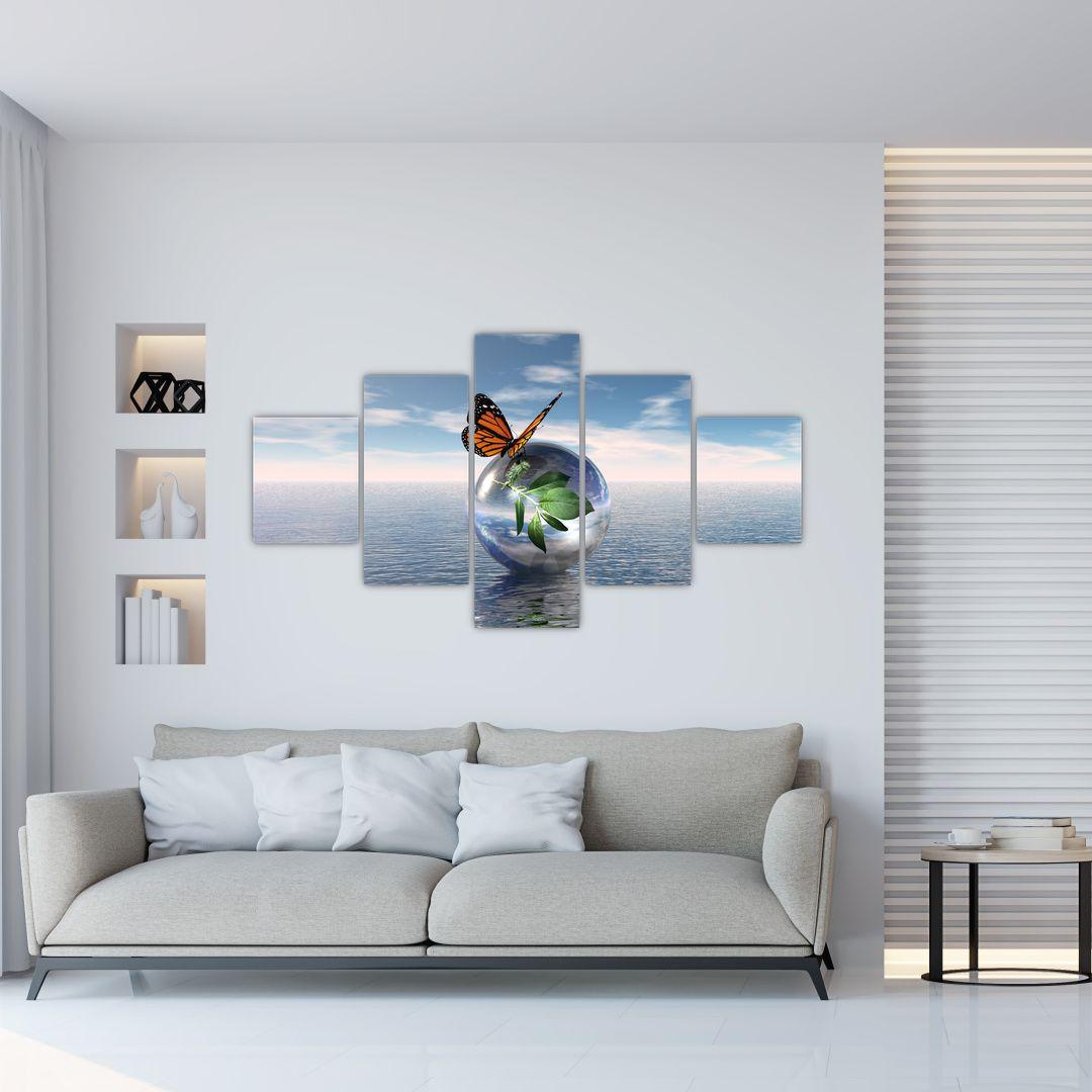 Obraz motýla na skleněné kouli (V021198V12570)
