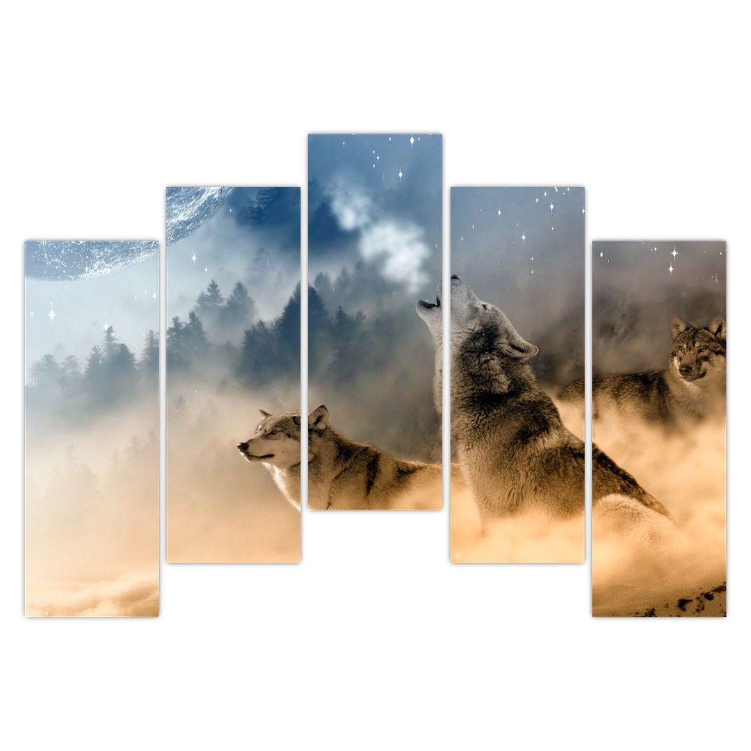 Obraz - vlci vyjící na měsíc (V020509V12590)