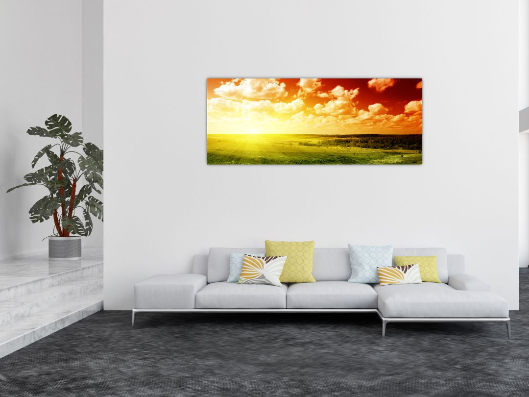 Obraz louky se zářícím sluncem (V021174V14558)
