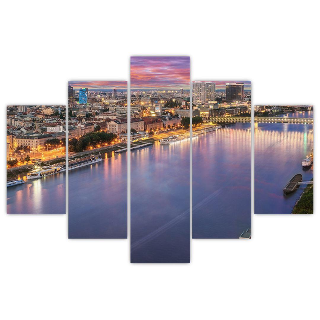 Obraz nočného mesta Bratislavy s riekou (V020706V150105)