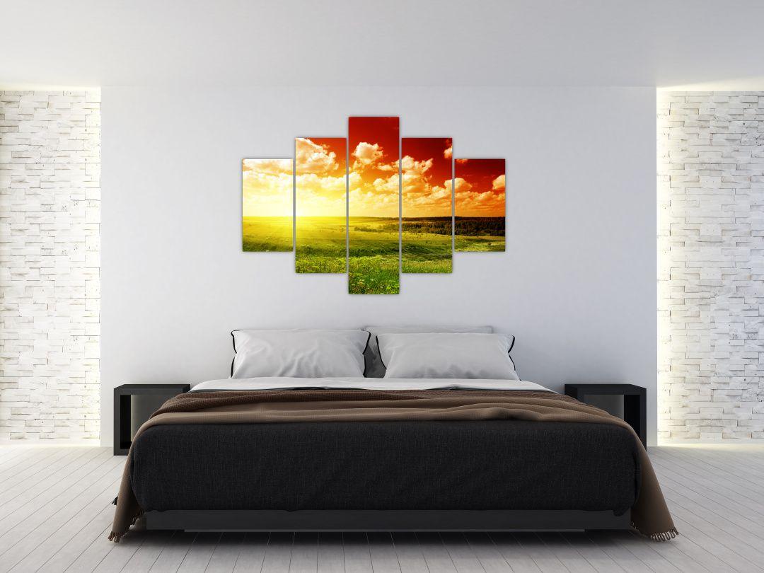 Obraz louky se zářícím sluncem (V021174V150105)