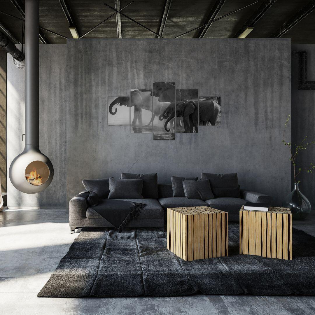 Obraz slonů - černobílý (V021575V150805PCS)