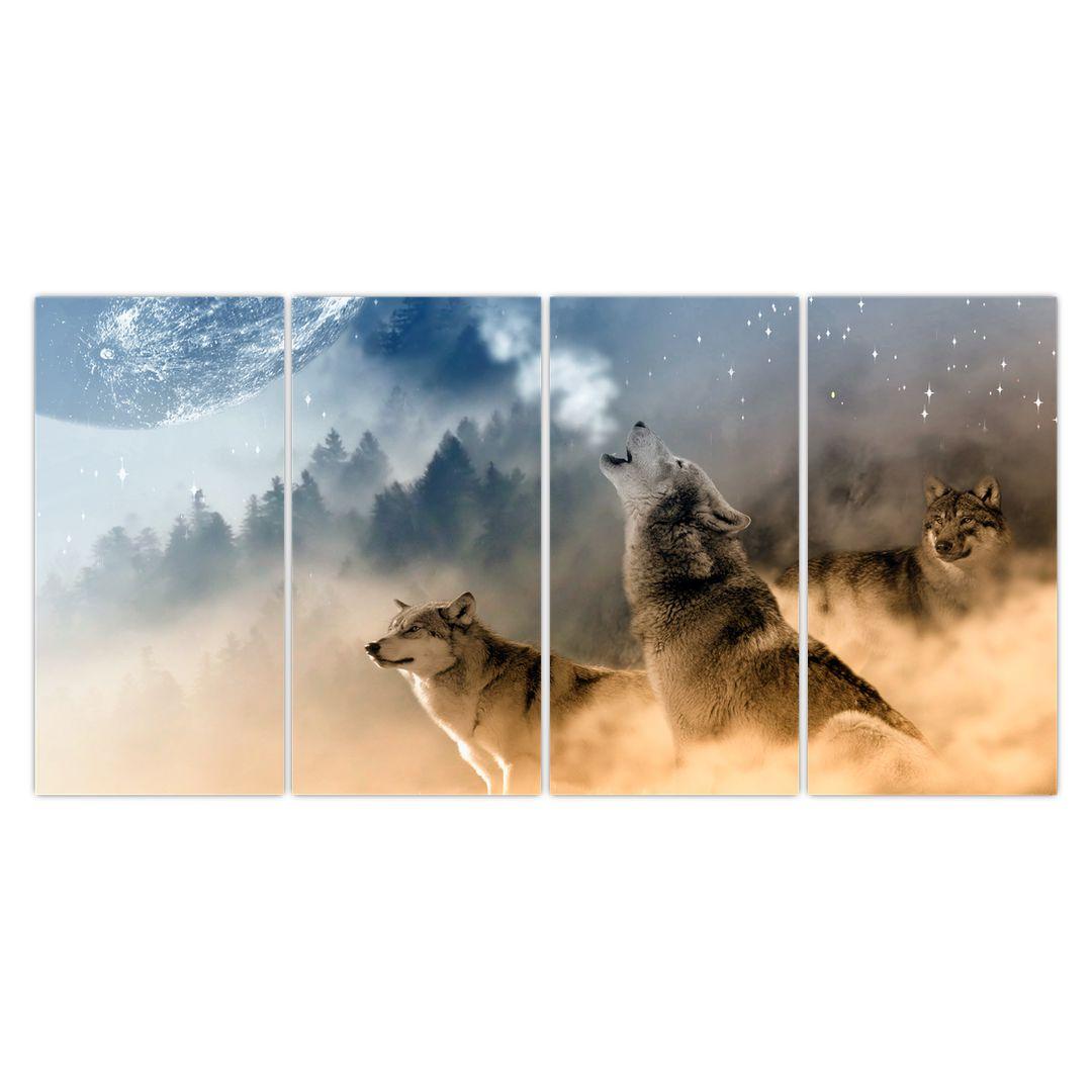 Slika - vukovi zavijaju na mjesec (V020509V16080)
