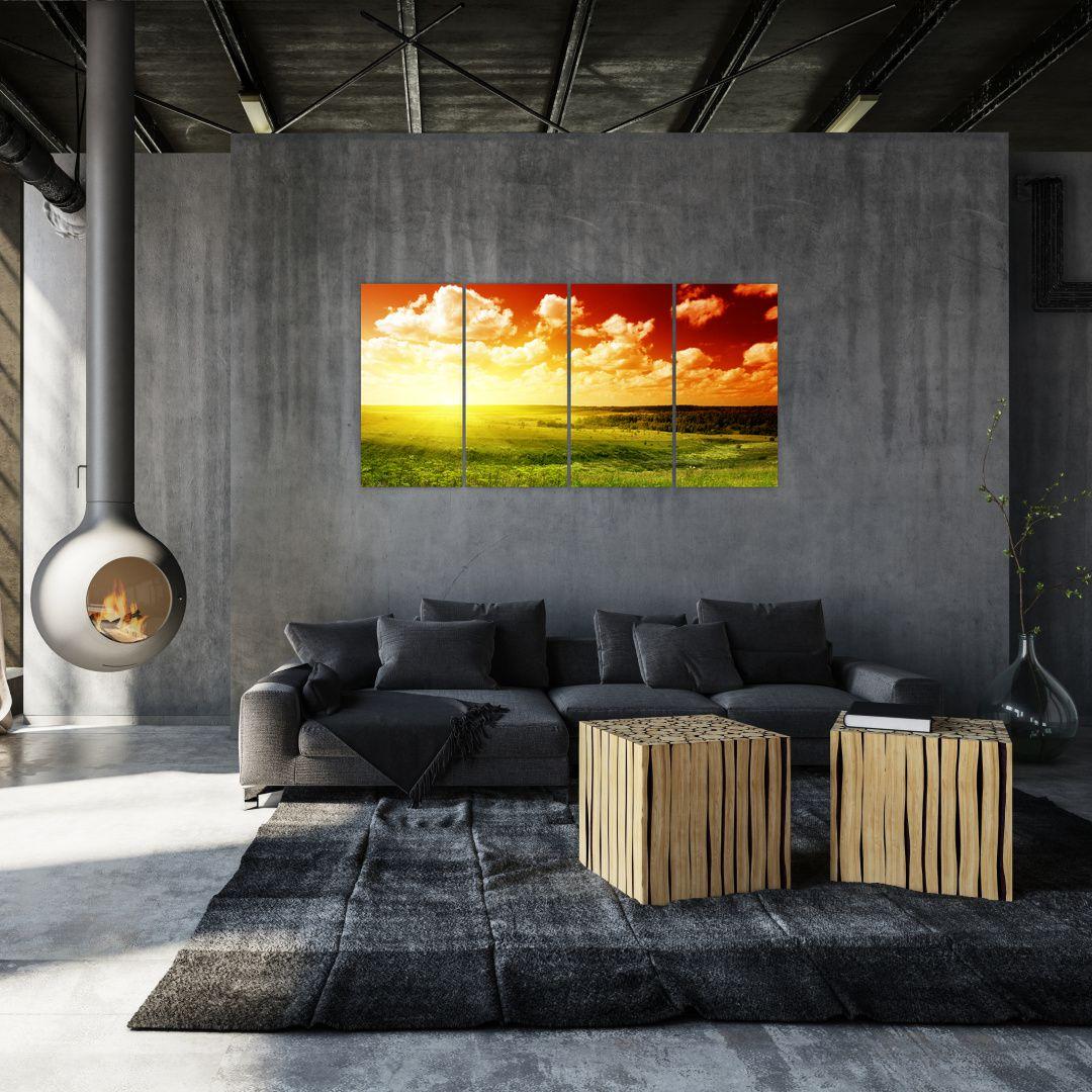 Obraz louky se zářícím sluncem (V021174V16080)