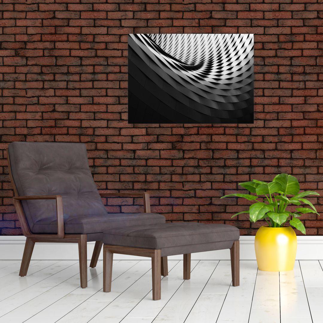 Abstraktní obraz - černobílá spirála (V020667V7050)