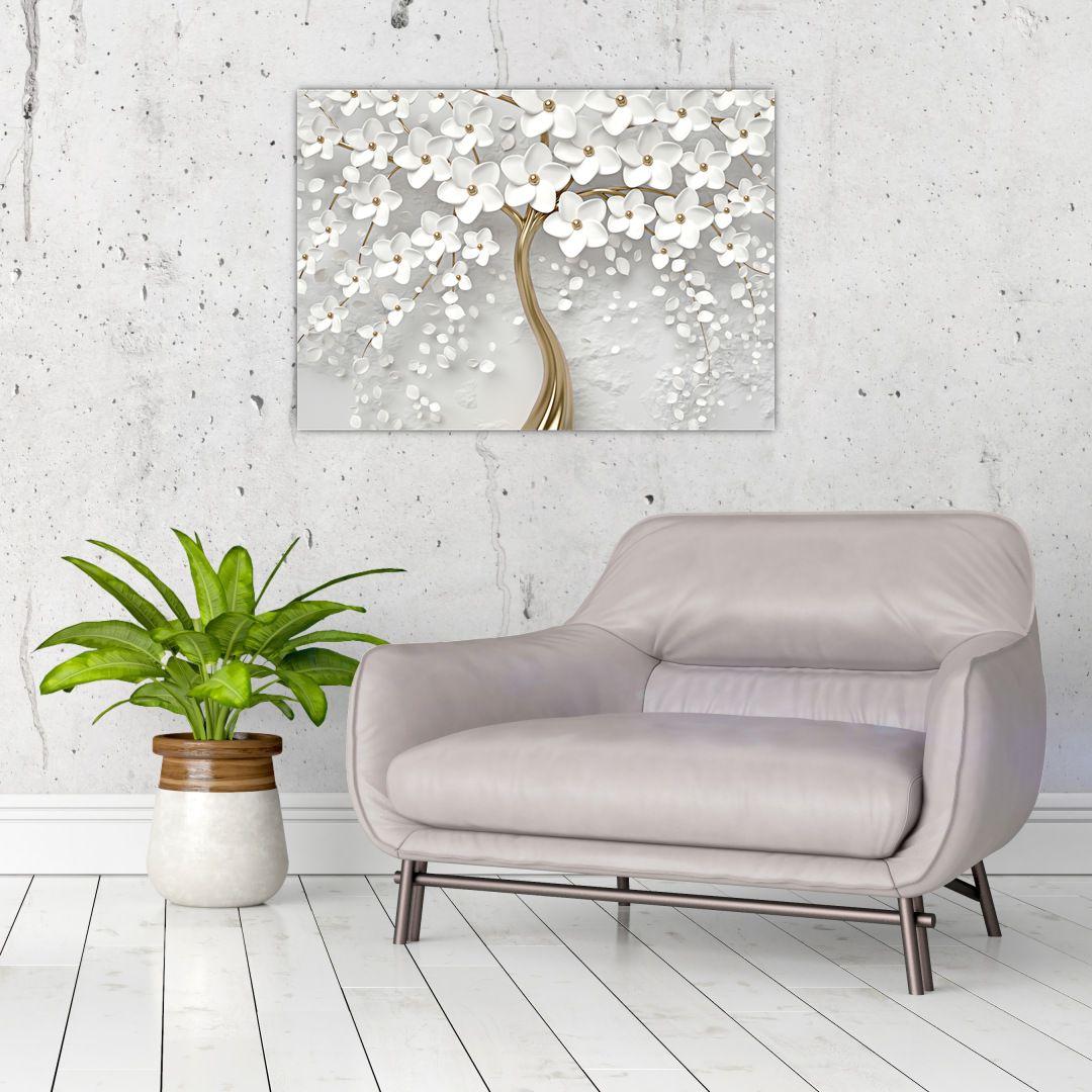 Obraz bílého stromu s květinami (V020977V7050)