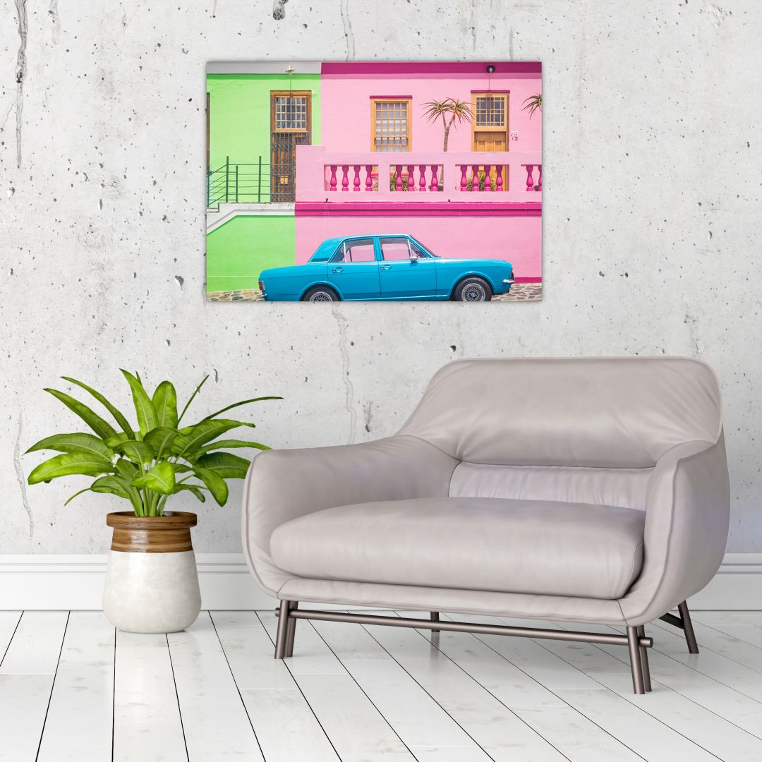Obraz auta - barevné domy (V021582V7050)