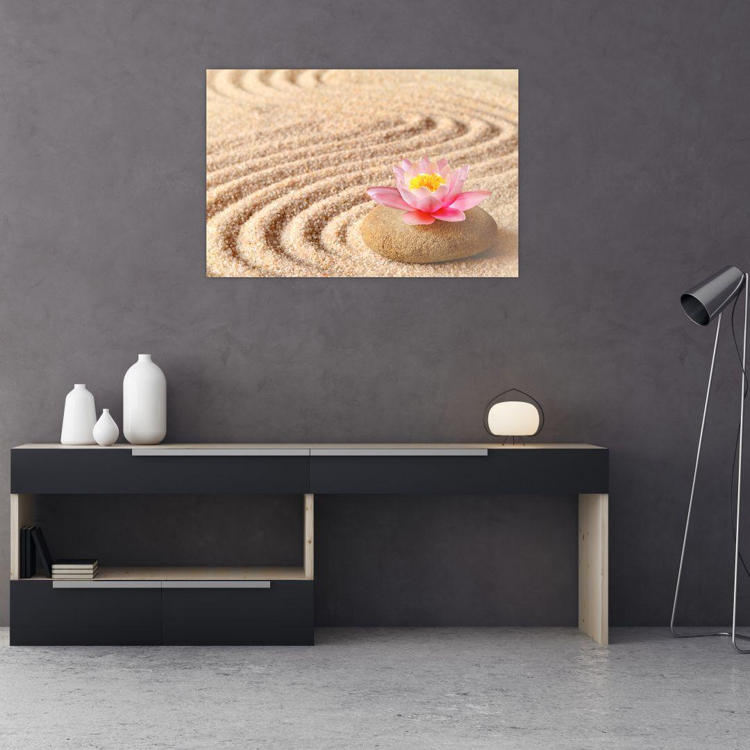 Obraz kameňa s kvetinou na piesku (V020864V9060)